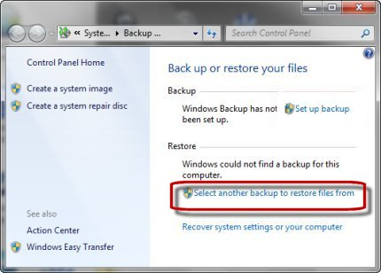 Clicking Select another backup to restore files from