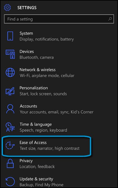 Settings screen with Ease of Access highlighted