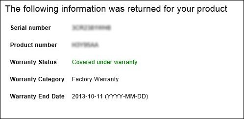 HP Product Warranty Check page showing warranty status