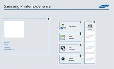 影像顯示 Samsung Printer Experience 介面
