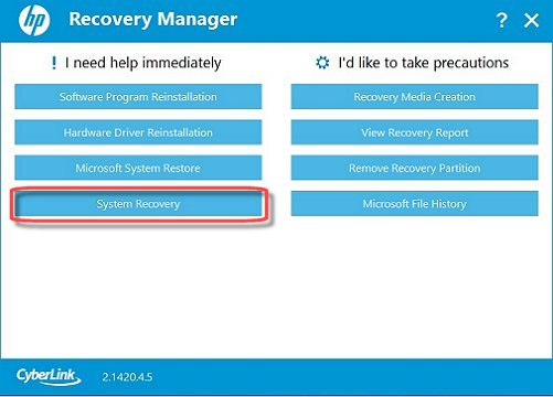 Recovery Manager Main screen