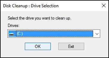 Disk Cleanup window with the C: drive selected