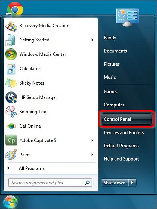 Control Panel in the Start menu