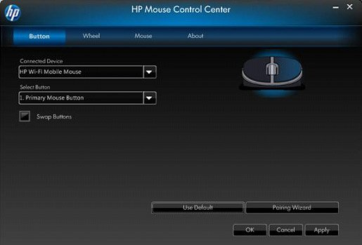 Image of the Mouse Control Center's opening screen.
