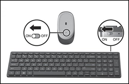 On/off switch on wireless mouse and keyboard