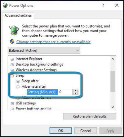 Hibernate after option selected in Power Options