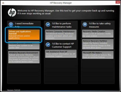 HP Recovery Manager window with Drivers and Applications Reinstall highlighted