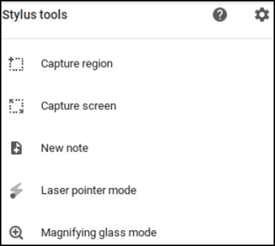 Menu of Stylus tools