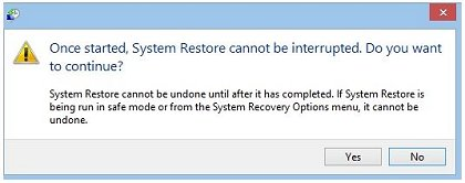Message stating that System Restore cannot be interrupted once started