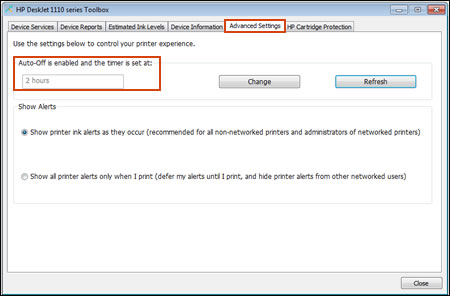Auto-Off enabled feature is highlighted in the Advanced Settings window