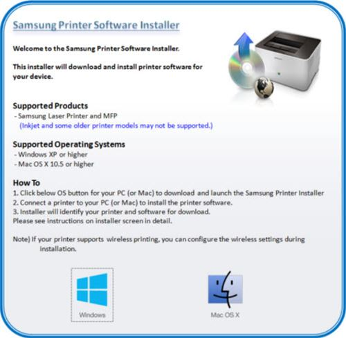Image shows Samsung Printer Software Installer