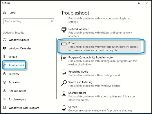 Opening the Power troubleshooter