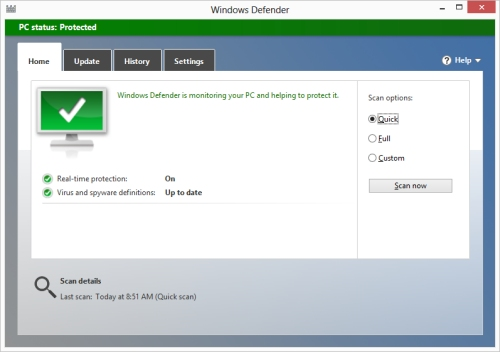 Tela de abertura do Windows Defender