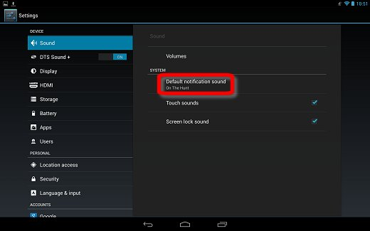 System notification sound in the Sound settings menu