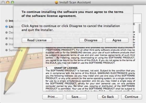 Image shows license agreement