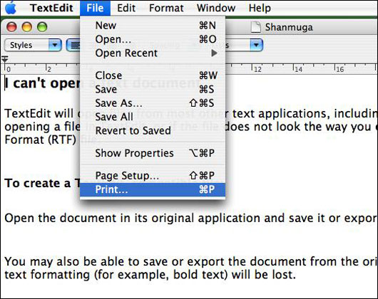 To Open The Print Dialog Box Click File Menu And Select Option Apple Key P Is Keyboard Shortcut From Mac