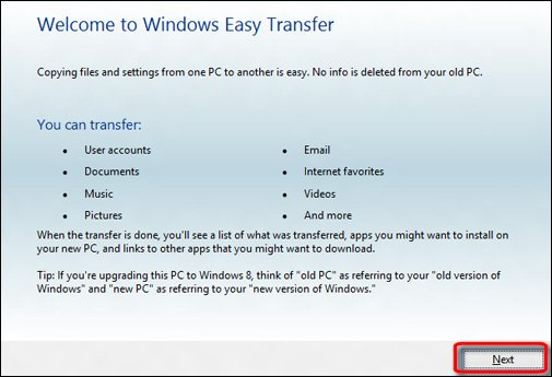 where do you find the windows easy transfer program to use with your windows 7 machine