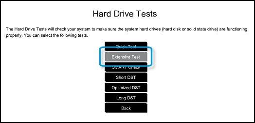 Selección de la Prueba exhaustiva de la unidad de disco duro
