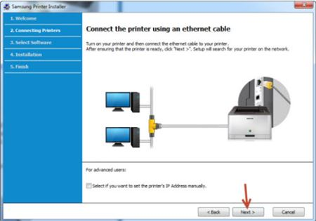 Image shows printer connected through an ethernet cable