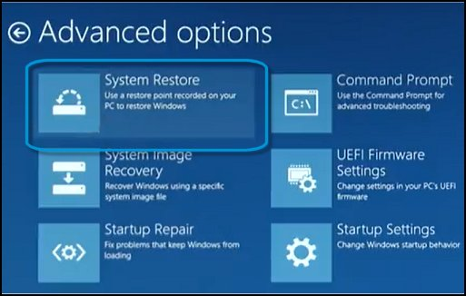 Advanced options screen, with System Restore selected