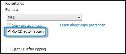 Clicking Rip CD automatically