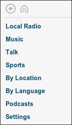 Opções de classificação de estação de rádio
