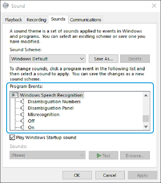 Windows Speech Recognition under Program Events