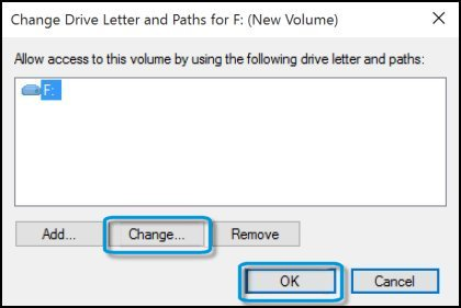 Changing drive letter