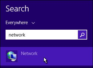 Network on the Search screen