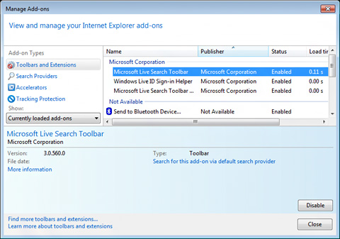 Image of Manage Add-ons window
