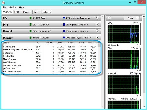 Resource Monitor showing memory selection
