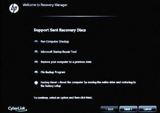 Recovery Manager with HP-sent recovery discs