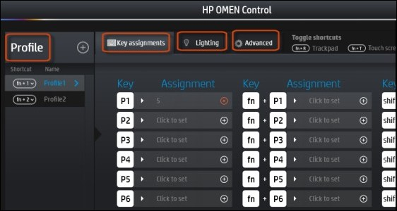 HP OMEN Control screen