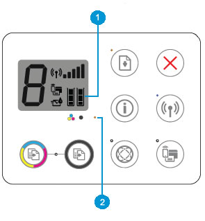 Example of the Ink Level icons and the Ink Alert light on the printer control panel