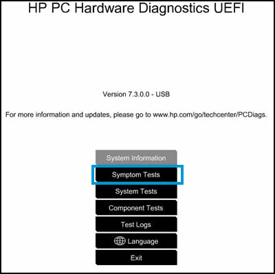 Ejemplo de Diagnósticos de hardware de PC HP UEFI