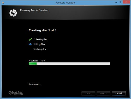 Image of the Recovery Media Creation status screen