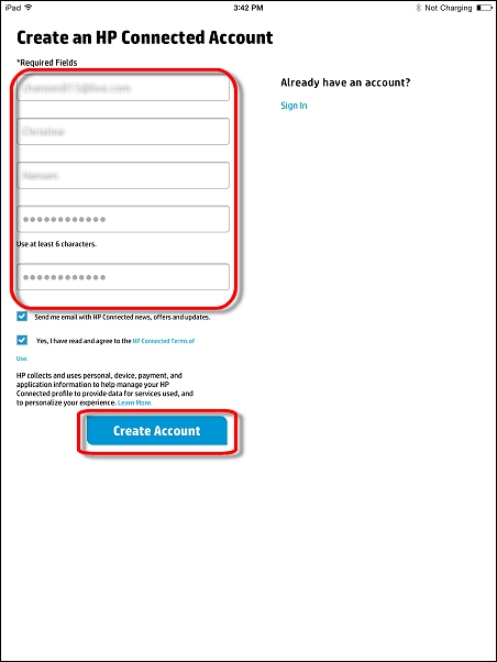 Completing the account form