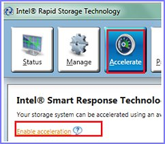 Enabling acceleration in Intel Rapid Storage Technology