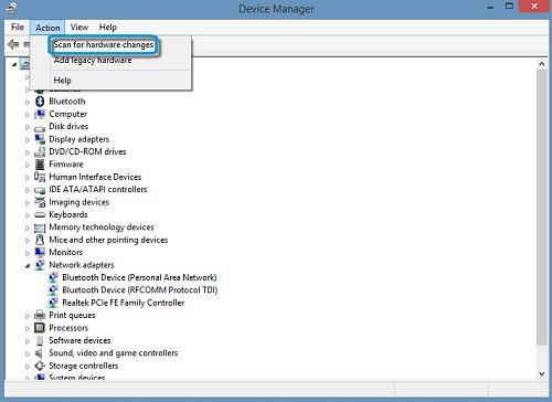 Scan for hardware changes selection in Device Manager window