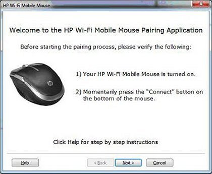 Image of the pairing application welcome screen.