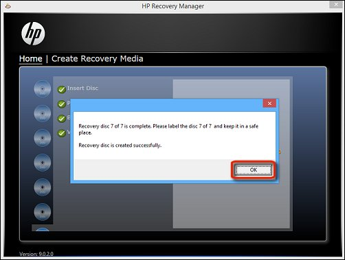 Image of recovery image on discs created successfully and OK selected