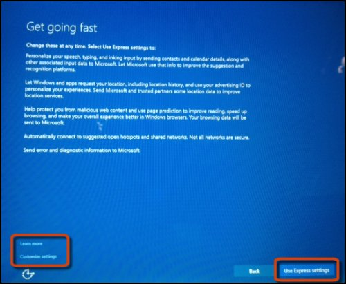 Get going fast options screen