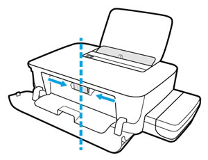 The carriage moves to the center of the printer