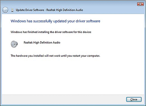 Windows has successfully updated your driver software screen