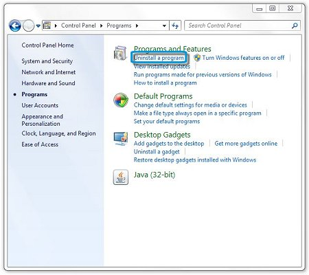 Uninstall a program selection in Programs and Features