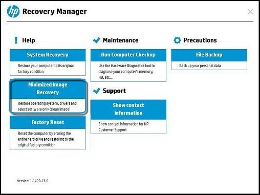 HP Recovery Manager main screen