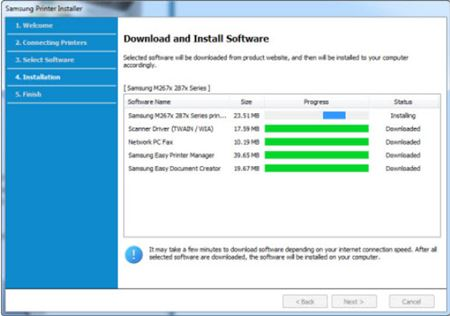 Image shows download bars for download and install software