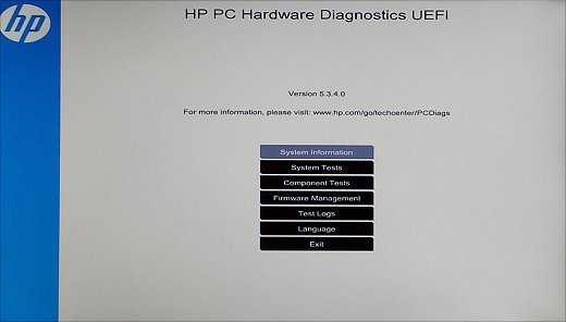 Página inicial do HP PC Hardware Diagnostic (UEFI)