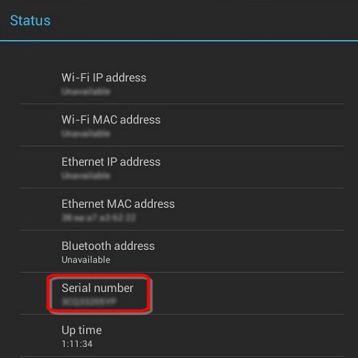 Serial number on the Status screen