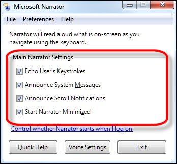 Narrator preferences with Main Narrator Settings options highlighted